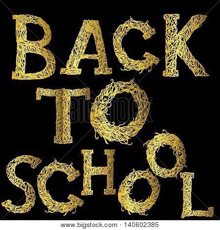 Back to school text - golden on black. New school year start.