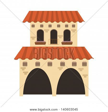 flat design spanish colonial architecture icon vector illustration