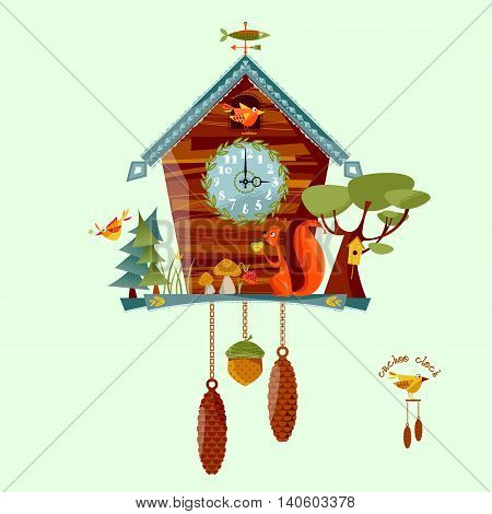 Cuckoo clock with a squirrel trees berries mushrooms. Rural style. Vector illustration.