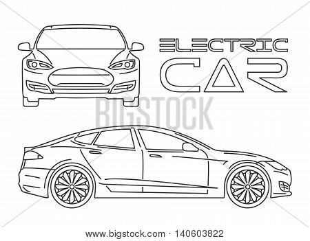 Silhouette of electric car Front view Side view