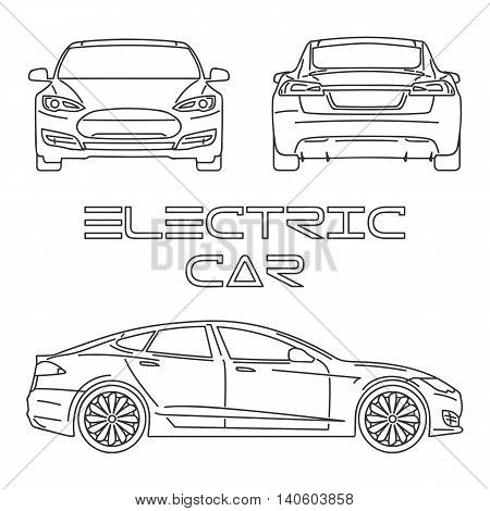 Silhouette of electric car. Front view. Back view. Side view