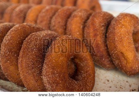 Home made cinnamon brown sugar fresh baked donuts