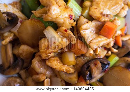 Chinese food spicy Kung Pao Chicken with peanuts