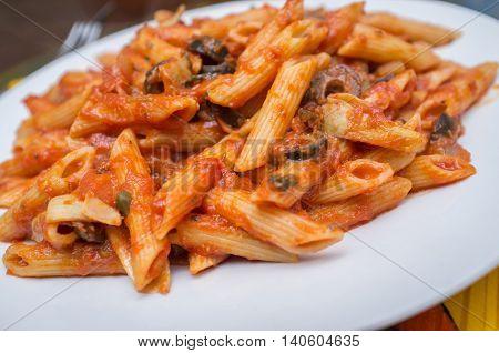 Primavera vegetable penne with Italian puttanesca spaghetti sauce