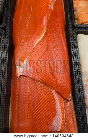 Alaskan raw salmon display at local street market