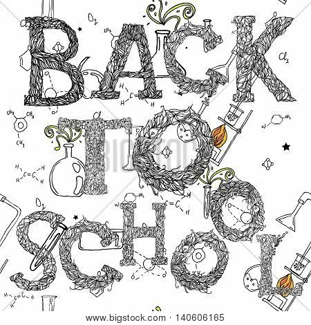 Back to school text. Vector hand drawn lettering. New school year start.