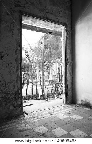 Old abandoned sanatorium and view to balcony