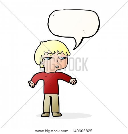 cartoon annoyed boy with speech bubble