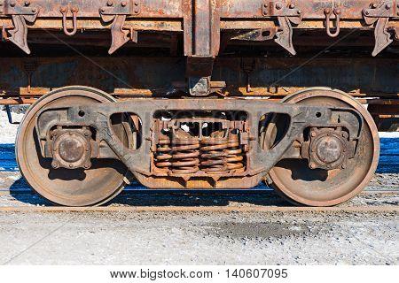 Wheels And Wheel Trolley Heavy Railway Freight Car.