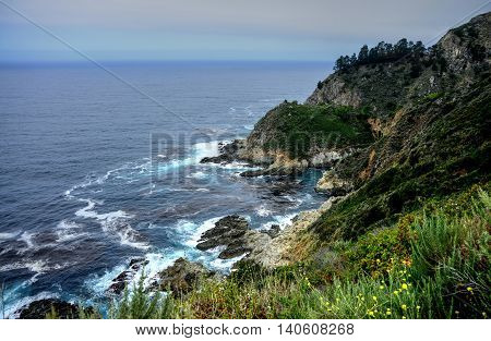 Hazy day pacific ocean Big Sur California