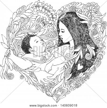 Mother holds sleeping baby, doodle illustration