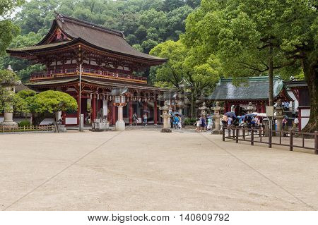 DAZAIFU JAPAN - AUGUST 18: Dazaifu Tenmangu on August 18 2015 is a shrine built over the grave of Michizane Sugawara venerated by the Japanese. It is one of the most tourist visited shrine in Fuguoka