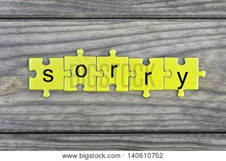 Puzzle pieces with word Sorry