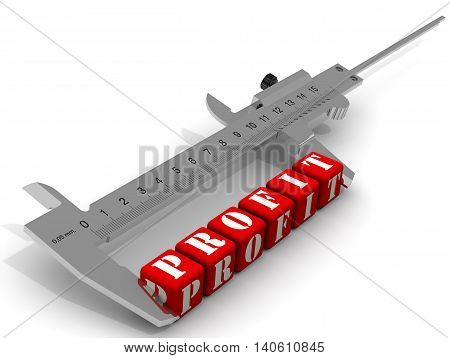 Measurement of profit. Caliper measures the word