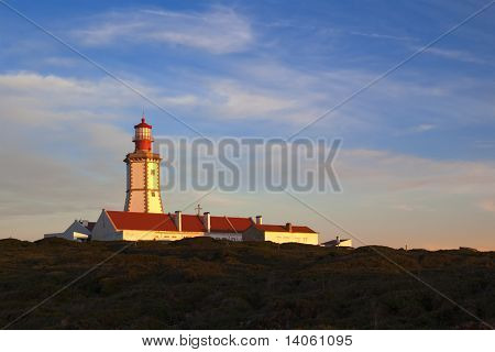 Cape Espichel Lighthouse On Sunset Light