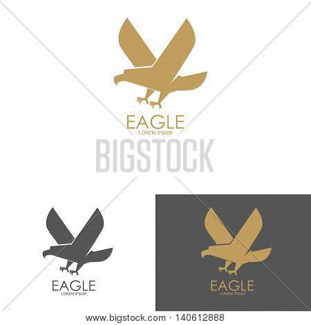 Logo template with eagle silhouette. Design element for label emblem brand mark sign. Vector illustration.