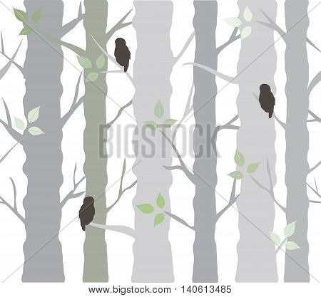 vector illustration of tree background with owls