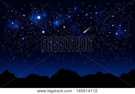 Dark blue space landscape with mountains silhouette, comet and stars.