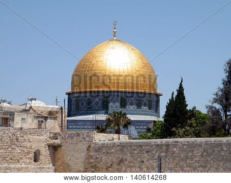 The dome of Rock Mosque in the old city of Jerusalem Israel