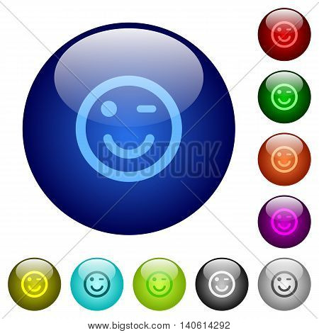 Set of color winking emoticon glass web buttons.