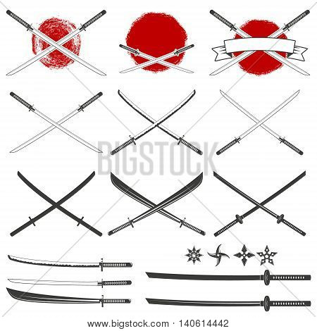 Set of the katana swords. Samurai and ninja weapon in retro style. Crossed samurai swords collection. Ninja shurikens.