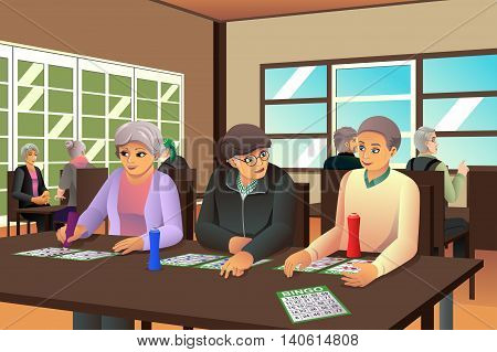 A vector illustration of happy elderly playing bingo together