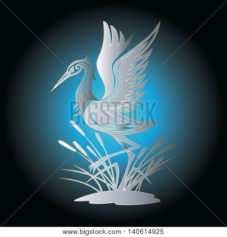 Background with flying decorative heron and canes silhouette.  Vector illustration with shadow and highlights.