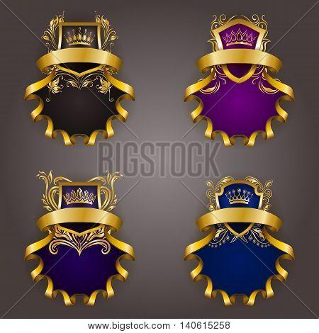Set of golden royal shields for graphic design on background. Old graceful frame, border, crown, floral element, ribbon in vintage style for icon, label, emblem, badge, logo. Vector illustration EPS10