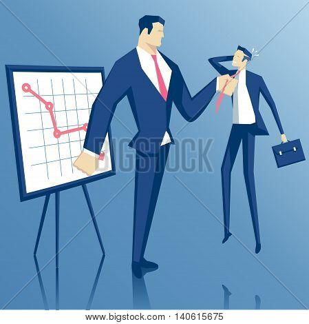 Angry boss grabbed employee by the tie and chastises him for failure big boss and little worker