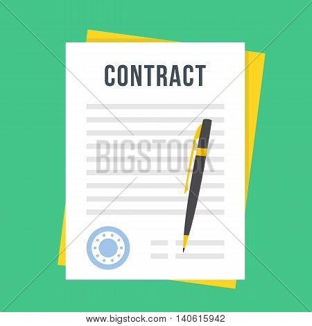 Contract document with rubber stamp and pen. Sign contract concept. Flat style design vector illustration isolated on green background