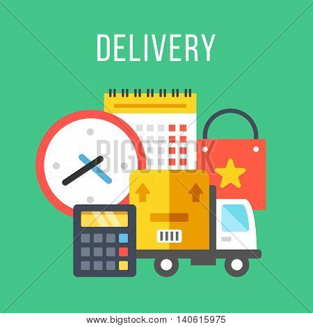 Delivery. Flat icons set with clock, calculator, calendar, sale bag, parcel and delivery truck. Shipping, transportation concepts. Flat design vector illustration