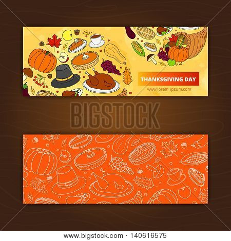 Editable horizontal banners with hand drawn items for Thanksgiving day. Used clipping mask.