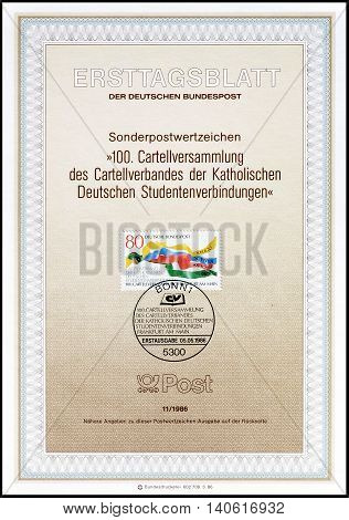 GERMANY - CIRCA 1986 : Cancelled First Day Sheet printed by Germany, that shows Religion, Science, Friendship and Fatherland.