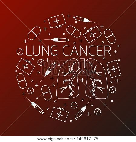 Lung cancer linear icon set. Lung cancer  treatment symbols- pills, syringes and first aid boxes. Lung cancer awareness sign made in line style. Vector illustration.