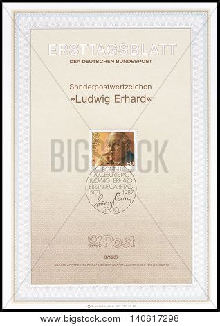 GERMANY - CIRCA 1987 : Cancelled First Day Sheet printed by Germany, that shows Ludwig Erhard.