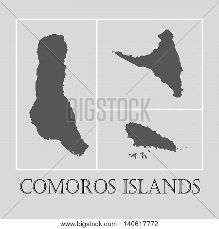 Simple gray Comoros islands map on light grey background. Gray Comoros islands map - vector illustration.