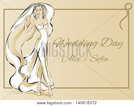 Wedding Day Invitation With Beautiful Fiancee