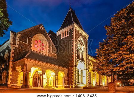 Christs College in Christchurch at night Canterbury South Island New Zealand