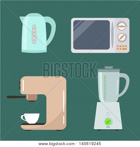 Set of kitchen-ware. Kitchen equipment. There is a kettle, microwave, blender and coffee machine in the picture. Vector illustration