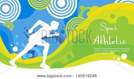 Runner Athlete Sprint Sport Competition Colorful Banner Flat Vector Illustration