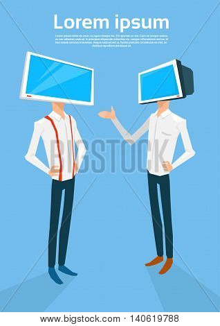 Business People With Computer Monitor Head Online Meeting Flat Vector Illustration