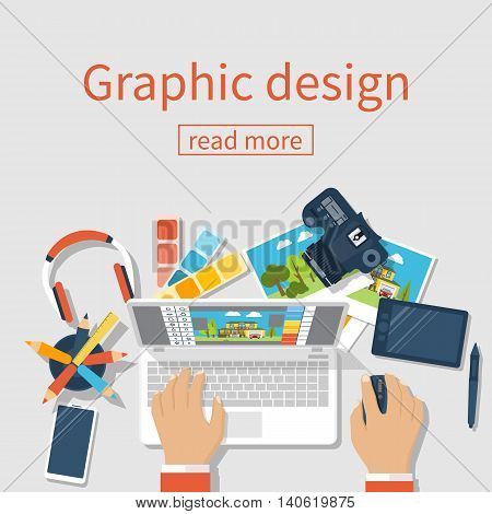 Concept of development of graphic design. Banner flat design style vector illustration. Designer works with modern equipment digital devices at table. Software processing photo.