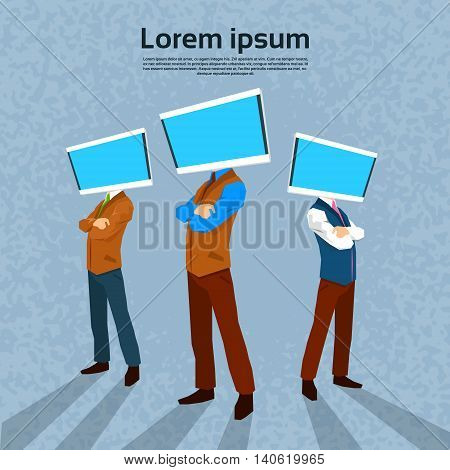 Business People With Computer Monitor Head Flat Vector Illustration