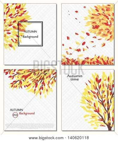 Fall of the leaves. Hello autumn. Leaves are drawn. Backgrounds with hand drawn autumn leaves. Sketch, design elements. Vector. Ard, invitation, Autumn time