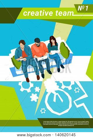 Creative Team Workplace Business Coworking Center Flat Vector Illustration