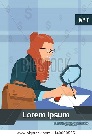 Business Woman Sign Up Document Hold Magnifying Glass Flat Vector Illustration