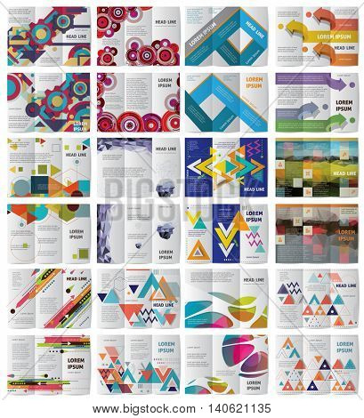 Twelve Tri fold Vector business brochures or magazine covers template.