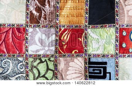 Colorful crazy quilt on the arabian market