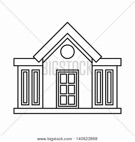 Mansion icon in outline style isolated on white background. Construction symbol