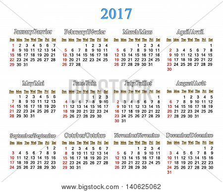 calendar for 2017 years on the white background. Office calendar for next year